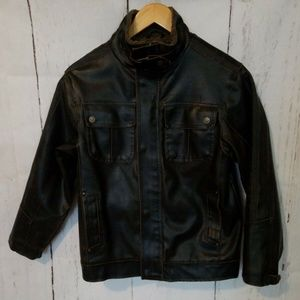 HAWKE & Co Bomber Faux Leather Jacket Kid's 10/12